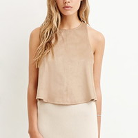 Vented-Back Faux Suede Tank