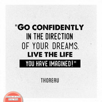 Henry David Thoreau quote, black and white print, motivational wall art quotes, square print, go confidently in the direction of your dreams