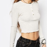 Honey Punch Fitted Long Sleeve Top In Rib With Button Front at asos.com