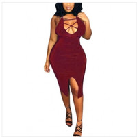 Sexy U shaped neck hollow out wine red Qmilch sheath knee length dress