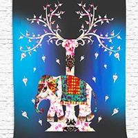 Elephant Tree of Life Ethnic Tribal Indian Design Pastoral Decorations Ombre Decorations Buddha Wall Panels Art Hanging Wall Tapestry Living Room Bedroom Decor, Fuchsia White Coral Yellow Blue Black
