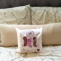 """Dream catcher with feathers 12"""" x 12"""" throw pillow for bedroom or home decor"""