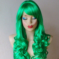 HOLIDAY SALE // Green wig. Long Curly wig. Irish color Wig. Cosplay wig. Custom wig. Lolita green wig.