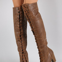 Almond Toe Lace Up Stacked Heeled Over-The-Knee Boots