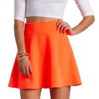 Neon Geo-Quilted Skater Skirt by Charlotte Russe - Neon Coral