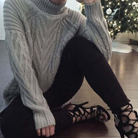 Backless High Neck Pullover Sweater