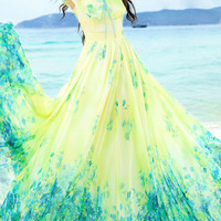 Yellow and Green Acetate Floral Print Maxi Dress