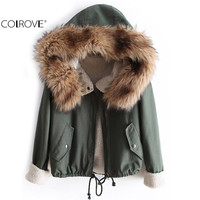 COLROVE Newest Autumn Fashion Hot Top Faux Fur Green Long Sleeve High Street Women Casual Hooded Drawstring Coat