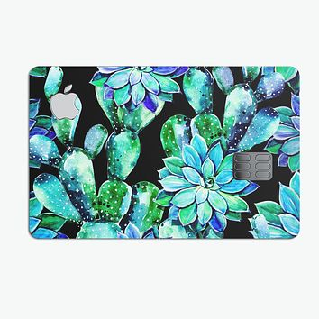 Watercolor Cactus Succulent Bloom V6 - Premium Protective Decal Skin-Kit for the Apple Credit Card