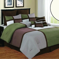8pc Luxury Comforter Set- Deco- Sage/ Brown/ White