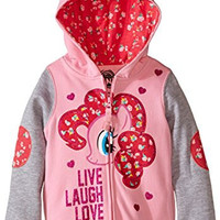 My Little Pony Little Girls' Live Laugh Love Hoodie, Pink/Heather Grey, 4