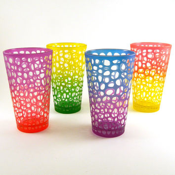 Pint Glasses - River Rocks - Set of 4 - Inlaid - Custom Painted and Etched Glassware