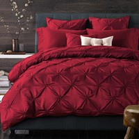 Pleated Silk Luxury Red Bedding Sets King/Queen Size Bed Sheet set Wedding Bed coverduvet Cover /Pillow Shams couvre lit de