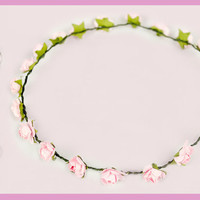 Light Pink Simple Flower Crown by HoneyBunnyStuff on Etsy