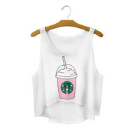 Women's Starbucks Coffee Cup Cute Sexy Girl Cropped Sports Summer Harajuku Style Camisole Youth White Crop Top Tank Top