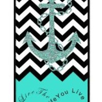 iZERCASE Live the Life You Love, Love the Life You Live. Turquoise Black White Chevron with Anchor Rubber iPhone 4 Case - Fits iphone 4 iphone 4S T-Mobile, AT&T, Sprint, Verizon and International