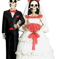 Skeleton Wedding Cake Topper Bride and Groom Couple Day of the Dead 5.25H