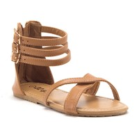 Toddler Girls' Gladiator Sandals with Back Zipper Open Toe Shoes
