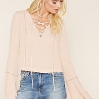 Lace-Up Gauze Top