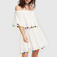 'Evelyn' A Line Boho Pom-Pom Dress