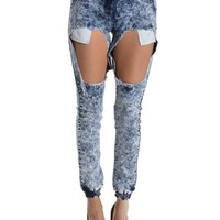 Women's Torn Acid Wash Denim Jogger Pants