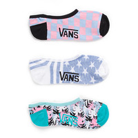 Vans Palm Camo Socks 3 Pair Pack (White/Dream Blue/Pink)