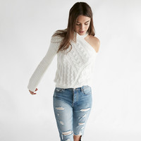 Asymmetrical Shoulder Cable Knit Sweater