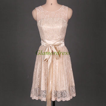 2014 champagne lace bridesmaid dresses,cute girls dresses for wedding party,knee length prom dresses with satin sash.