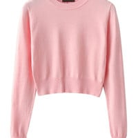 Pink Long Sleeve Cropped Knit Sweater - Choies.com