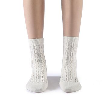 Bella Cable Knit Wool Crew Sock | White
