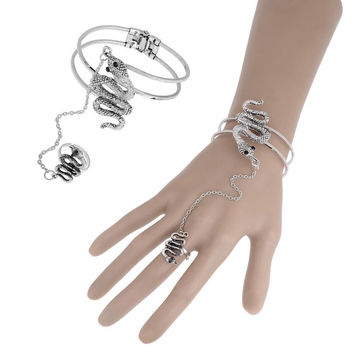 Ethnic Style Fashion Silver Bangle Charms Snake Shape Adjustable Bracelet Connect Tassel Ring For Women Jewelry