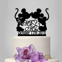 Mickey and Minnie mouse silhouette cake topper, mr and mrs wedding cake topper with heart decor, disney wedding cake topper with date