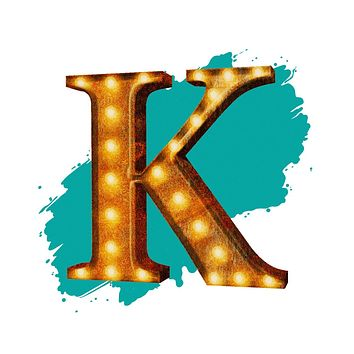 """24"""" Letter K Lighted Vintage Marquee Letters (Rustic)"""