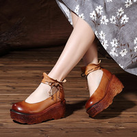 2017 Spring Genuine Leather Women Pumps Platform Wedges Round Toes Ankle Strap Back Zip High Heel Women Shoes