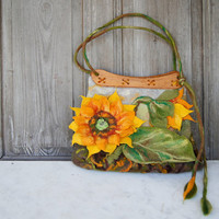 Unique felted bag with 3D sunflower with wooden handcrafted handles. OOAK