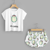 "Avocado Print Shorts and Tee with printed ""Avo-Cardio"" slogan"
