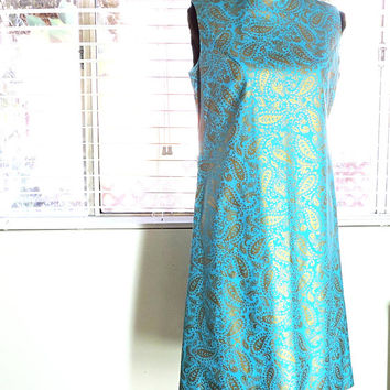 60s mod dress / size M 8 / 10 / 1960 paisley shift dress / turquoise gold dress
