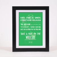 Motley Crue Wild Side Rock Lyrics Typography Poster Print - High Quality, more colours available!! - Nikki Sixx, Tommy Lee