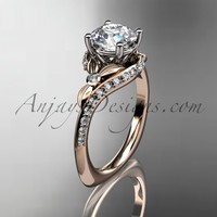 """14kt rose gold diamond leaf and vine engagement ring with a """"Forever Brilliant"""" Moissanite center stone ADLR112"""