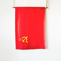 Vintage authentic state flag USSR, Soviet Union made, satin, ideological historical wall decor