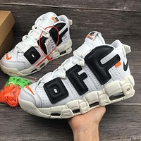 The 10 OFF WHITE x Nike Custom Air More Uptempo White Black Orang Sport Rinning Shoes 902290