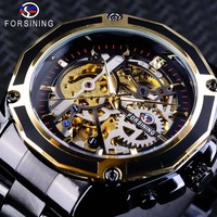 Forsining Steampunk Style Men's Skeleton Watches Black Automatic Men's Watch Top Brand Luxury Luminous Hands Horloges Mannen
