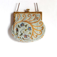 French Beaded Purse Antique Metro Bag Works Boho Evening Bag Edwardian Vintage Bags & Purses Bridal Accessories Fashion Gift for Her c1910