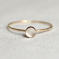 Solid 14k Gold Moon Orb Ring - Simple and Tiny Solid Gold Dainty White Moonstone Stack Ring with Hammered Band - Delicate Jewelry