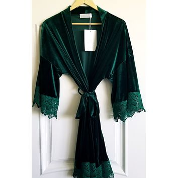Emerald Green Velvet and Lace Robe
