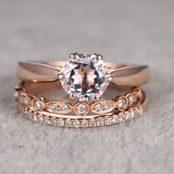 3pcs Morganite Bridal Ring Set,Engagement ring Plain Rose gold,Diamond wedding band,14k,7mm Round Cut,Gemstone Promise Ring,Art Deco Ring