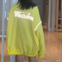 """Welldone"" Women Fashion Casual Letter Print Long Sleeve Round Neck Loose Hoodie"