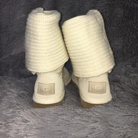 Ugg ivory white Classic Cardy knit fold over boots
