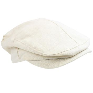 Cream Chambray Cabbie Hat