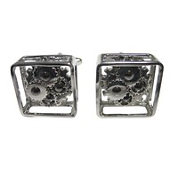 Silver Toned Fixed Non Moving Steampunk Cog Gear Cufflinks